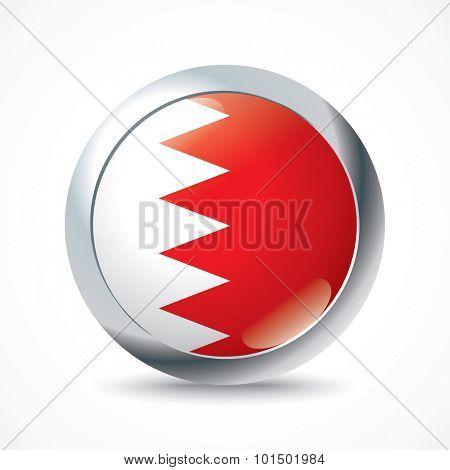 Bahrain flag button - vector illustration