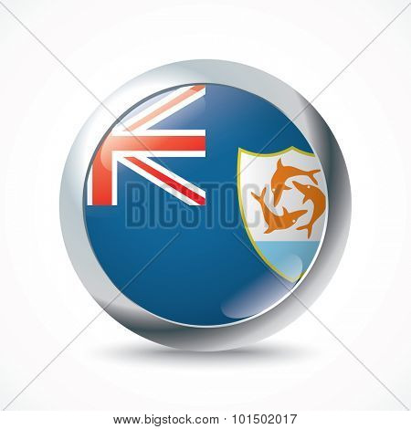 Anguilla flag button - vector illustration