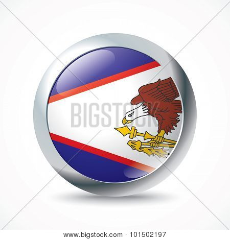 American Samoa flag button - vector illustration