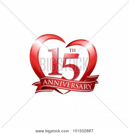 15th anniversary logo red heart ribbon