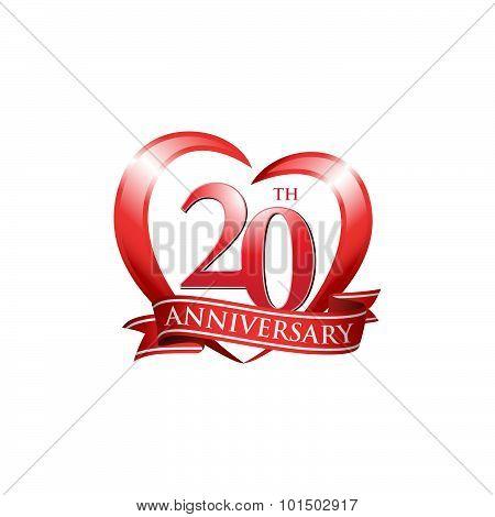 20th anniversary logo red heart ribbon