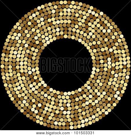 Gold Round Mosaic Background, on black. Abstract Illustration.