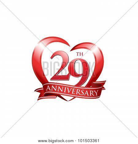29th anniversary logo red heart ribbon