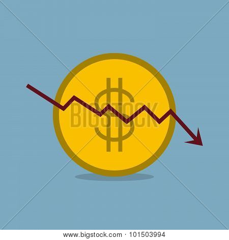 Stock Crisis With Dollar Coin