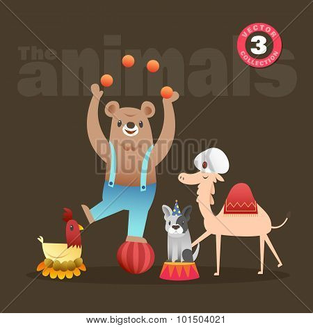 Cute Animals Cartoon Including Bear Hen French Bulldog And Camel