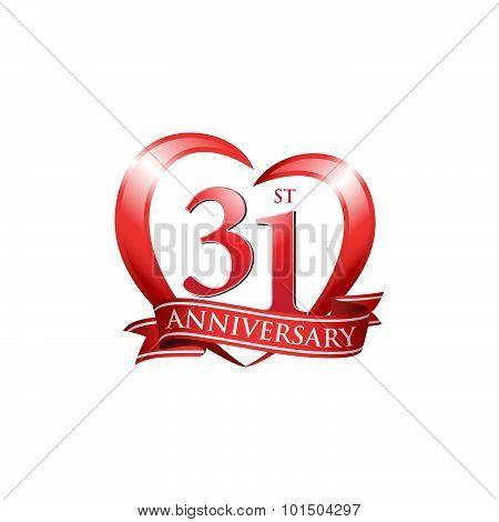 31st anniversary logo red heart ribbon
