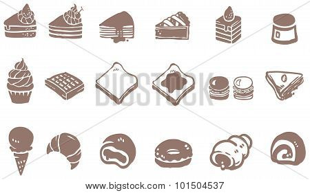 Doodle Drawing Of Dessert Sweet And Candy Such As Cake Cheesecake Cupcake Pie Donuts Crepe Roll Waff