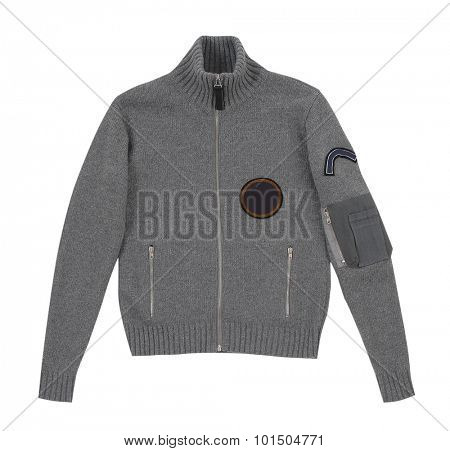 gray woolen winter jacket isolated on white