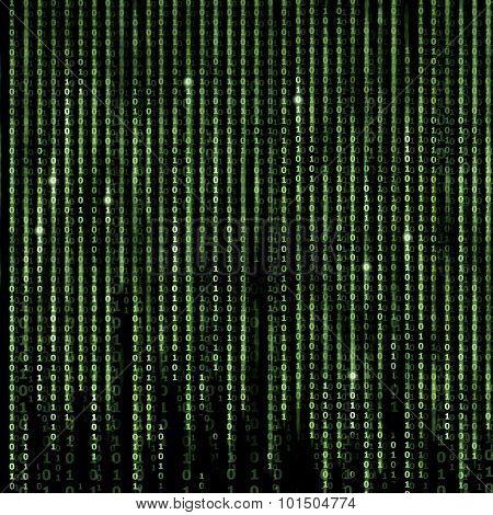 Green Digital Matrix Abstract background, program binary code