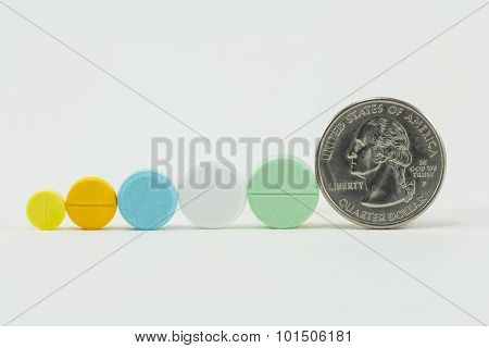 Medicine And Money On White Background. Expensive Bill. Finance Concept Of Pharmacy Business.