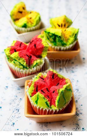 Kanom Pui Fai (thai Steamed Cupcakes).