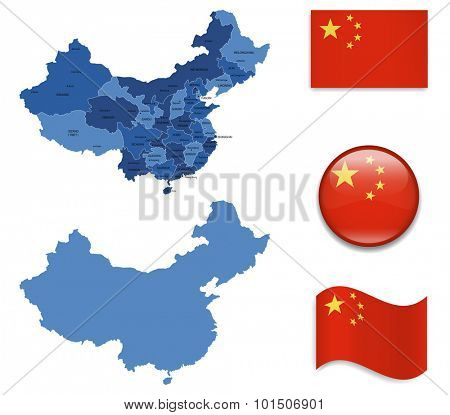 High Detailed Map of China With Flag Icons