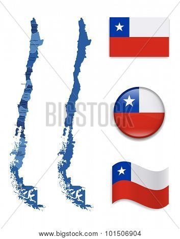 High Detailed Map of Chile With Flag Icons