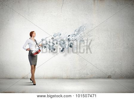 Young businesswoman playing drums and business icons and concepts