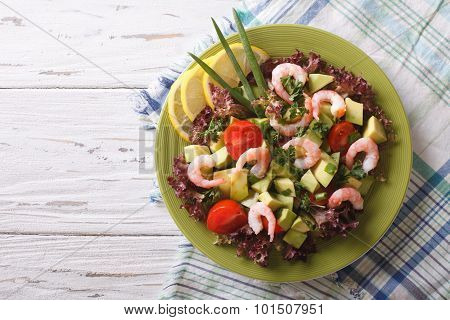 Salad With Avocado, Shrimp And Vegetables. Horizontal Top View