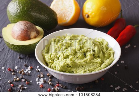 Delicious Guacamole Sauce And Ingredients Closeup. Horizontal