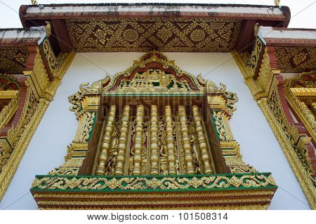 This Image Shows A Wat Detail, Window, In Haw Pha Bang (luang Prabang, Laos)