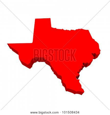Texas TX Red USA 3d State Map