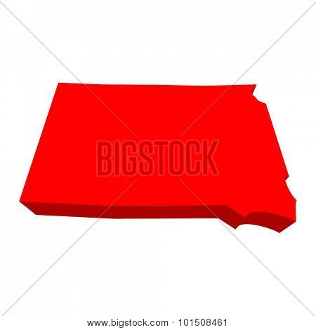 South Dakota SD Red USA 3d State Map