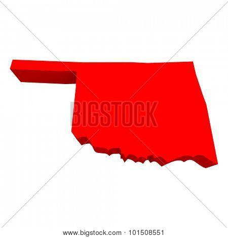Oklahoma OK Red USA 3d State Map