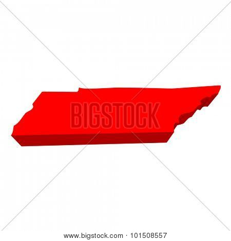 Tennessee TN Red USA 3d State Map