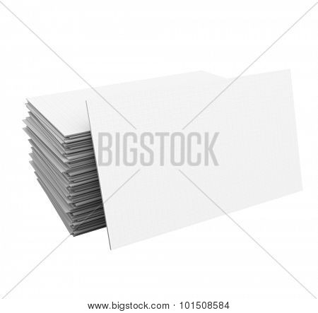 Business cards in a stack or pile as a 3d illustration with copy space for your job, title, company or business name