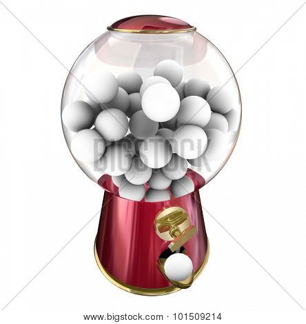 Gumball machine or candy dispenser giving you a sugary treat or snack, with blank copy space for your message or text