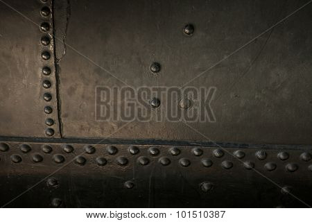 Metal background of old steam locomotive