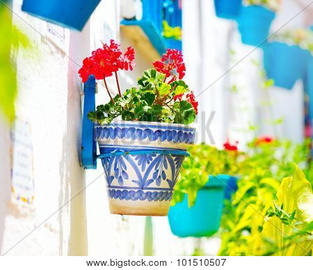 Torremolinos. Costa del Sol, Andalucia,Spain. Traditional Spanish White Village with flower pots in Spain. Beauty Flower pots in facades streets close-up. Beautiful street decorated with flowers