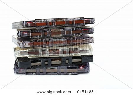 Audio Tape Cassette Isolated On A White