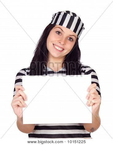 Sexy Prisoner With Blank Paper