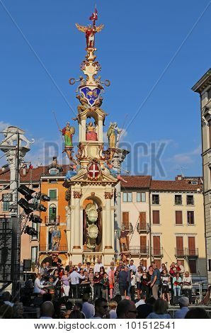 Vicenza, Vi, Italy - 12Th September, 2015. Festival With Old Carousel Called La Rua