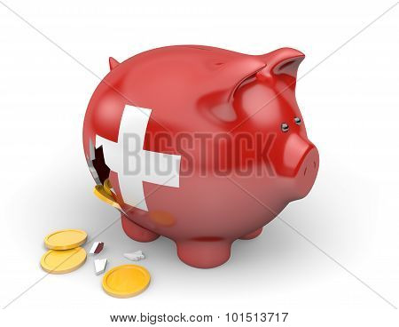 Switzerland economy and finance concept for GDP and national debt crisis