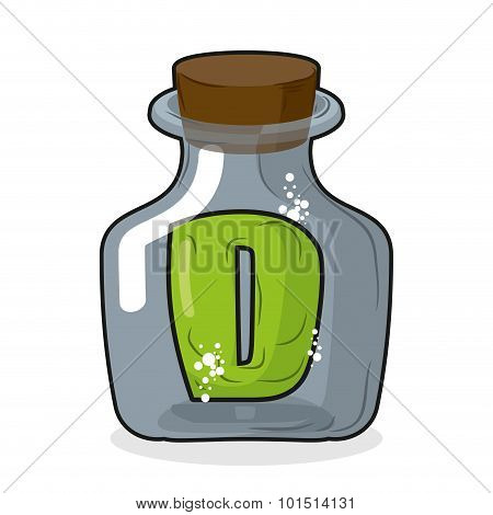 D In Bottle. Green Letter In Blue Glass Jar. Magic Potion Bottle And A Wooden Stopper. Vector Illust