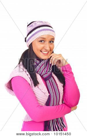 Young Woman In Warm Pink Clothes