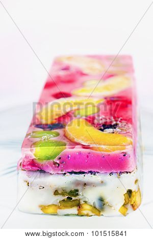 Jelly Cake With Fruits, Berries And Milk