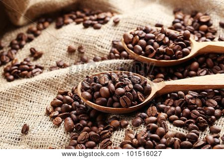 Coffee Beans In Wooden Spoon On A Sack, Close Up