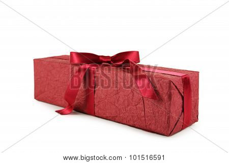 Gift box with burgundy bow