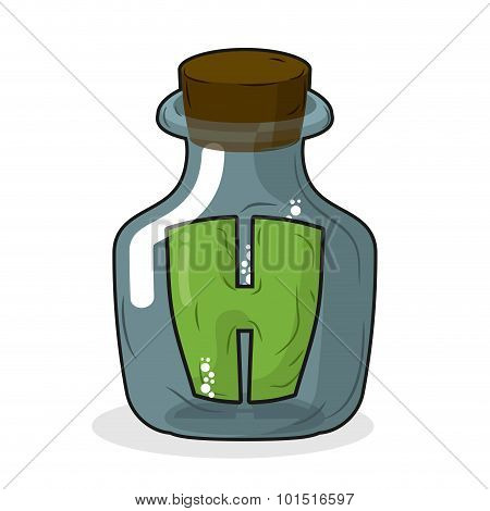 H In Laboratory Bottle. Letter In Magic Pot With A Wooden Stopper. Letter H To Scientific Experiment