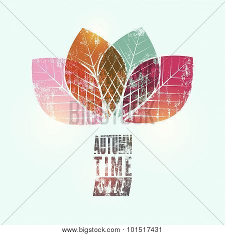 Autumn time retro grunge poster. Vector typographical design. Eps10.