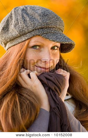 Autumn Park - Long Red Hair Woman Fashion