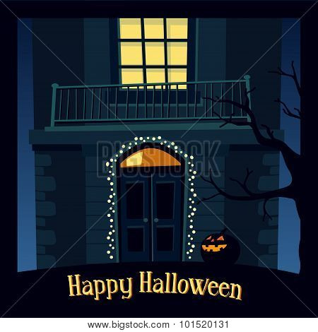 Halloween Card, Invitation With Haunted Old House And Jack-o-lantern, Vector