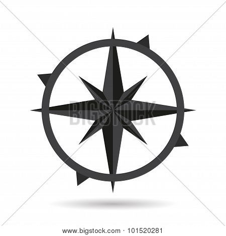 Icon compass flat style design with shadow