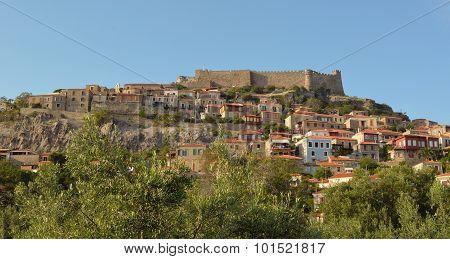 Molyvos castle and village northern Lesvos Greece