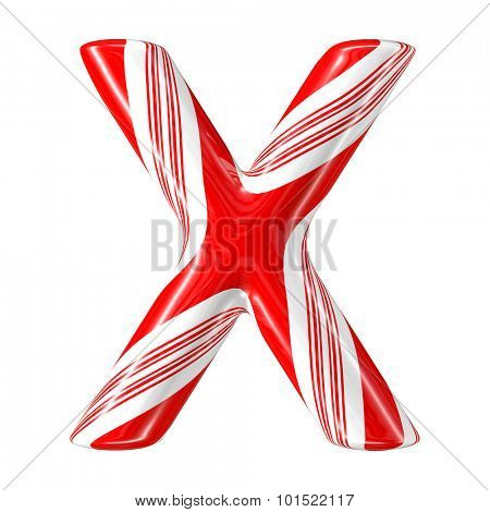 Mint hard candy cane 3d alphabet collection striped in Christmas colours. Letter X.