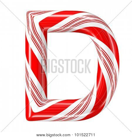 Mint hard candy cane 3d alphabet collection striped in Christmas colours. Letter D.