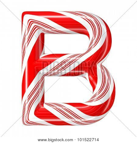 Mint hard candy cane 3d alphabet collection striped in Christmas colours. Letter B.
