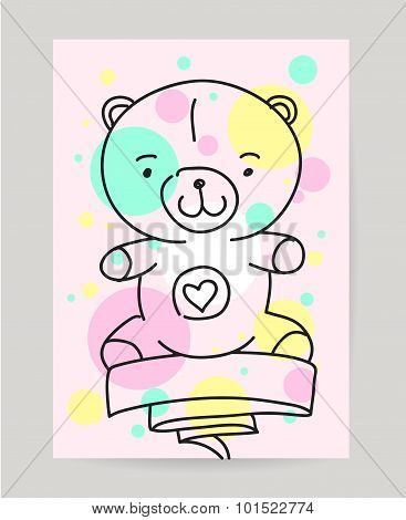 KId's hand drawn greeting card design with ribbon. Doodle teddy bear, sweet food, gift, baloon. Usef