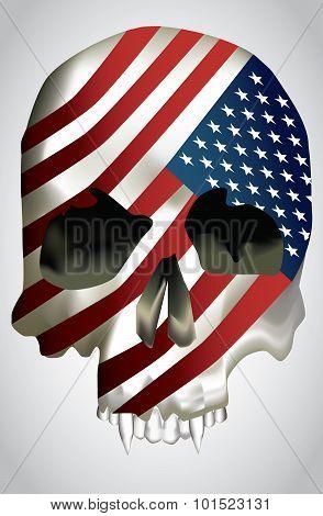 Vector - Skull with texture USA flag.