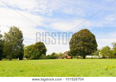French landscape with hamlet in Limousin